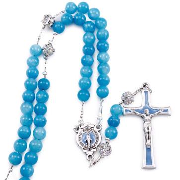 Aqua Jade Stone Beads Rosary