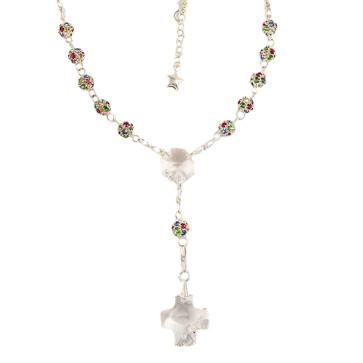 Catholic Rosary Necklace w/ Multicolored Swarovski Beads