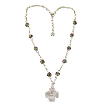 Rosary Necklace w/ Multicolored Swarovski Beads - Large