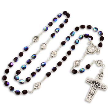 Pope Francis Rosary with Red Crystal Beads-gal
