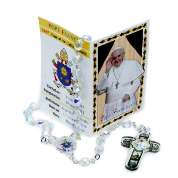 Pope Francis Rosary Clear Crystal Beads