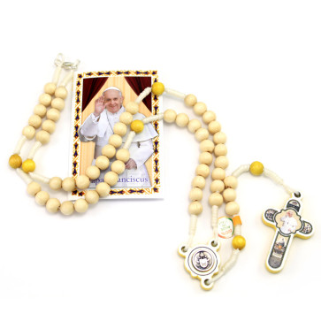 Pope Francis Cross Wooden Beads Rosary