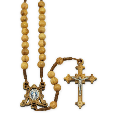 Miraculous Olive Wood Beads Catholic Rosary