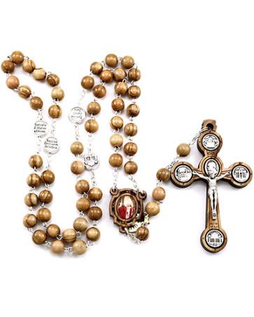 Pope John Paul II Olive Wood Beads Rosary