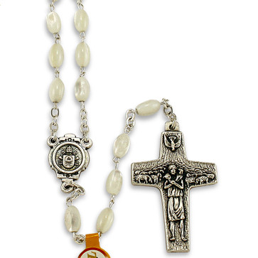 POPE FRANCIS  Vedele Mother of Pearl Beads Rosary