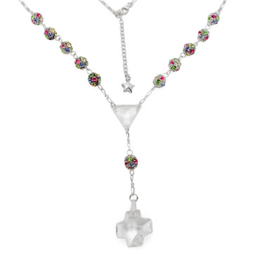 Catholic Rosary Necklace with Multicolored Swarovski Crystal Beads