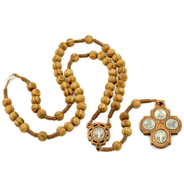 Four Way Cross Wooden Beads Rosary