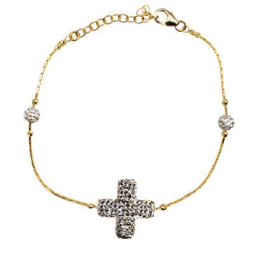 Crystal Rhinestone Cross Gold-tone Bracelet