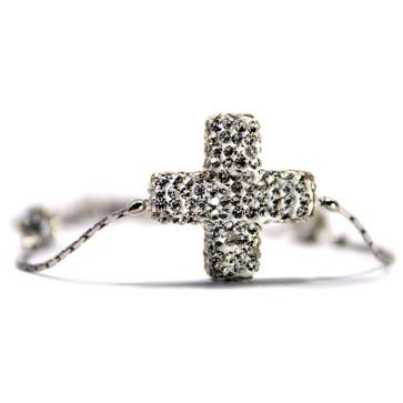 Crystal Rhinestone Cross Silver Rosary Bracelet