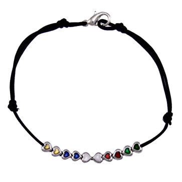 Multicolor Heart Metal Beads Rosary Bracelet