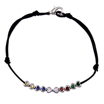 Multicolor Heart Metal Beads Rosary Bracelet