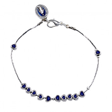 Catholic Metal Blue Heart Beads Rosary Bracelet