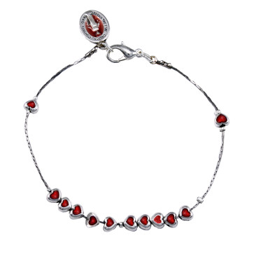 Catholic Metal Red Heart Beads Rosary Bracelet
