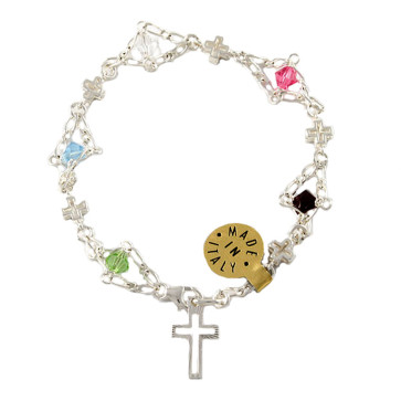Sterling Silver and Swarovski Catholic Rosary Bracelet
