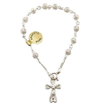 Sterling Silver Filigree Beads Rosary Catholic Bracelet