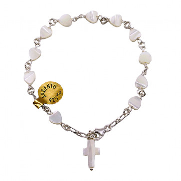 Mother of Pearl Heart Beads Rosary Catholic Bracelet