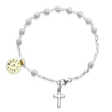 Filigree Silver Rosary Catholic Bracelet
