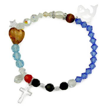Life of Jesus Rosary Bracelet with Sterling Silver and Swarovski Beads