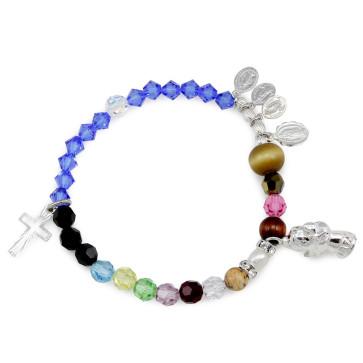 Life of Mary Rosary Bracelet with Swarovski Beads