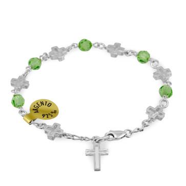 Swarovski Beads Catholic Rosary Bracelet w/ Sterling Silver Crosses