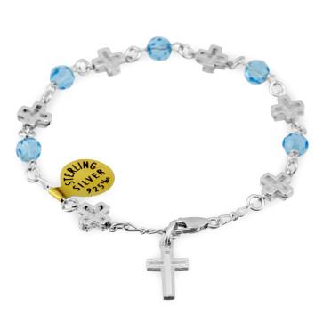 Swarovski Crystal Beads Catholic Rosary Bracelet w/ Sterling Silver Crosses