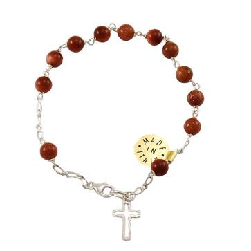Pietre Dure Beads Catholic Rosary Bracelet