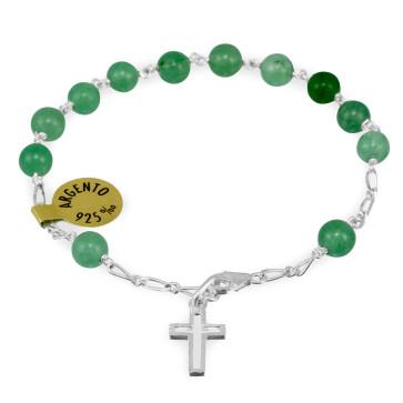 Green Pietre Dure Beads Rosary Catholic Bracelet
