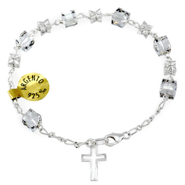 Swarovski Crystal Beads Rosary Bracelet  with Sterling Silver Flowers