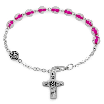 Pink Crystal Beads Bracelet with Pope Francis Cross