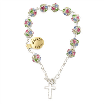 Multi Colored Swarovski Catholic Rosary Bracelet