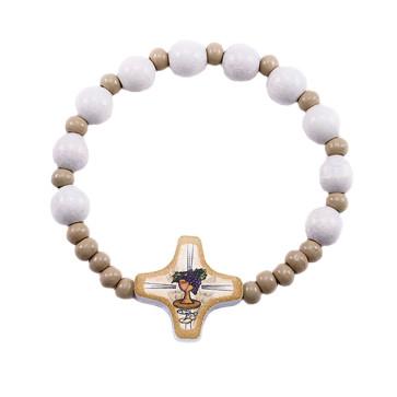 Communion rosary bracelet wooden beads