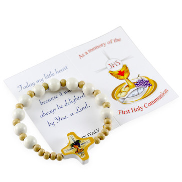 First Communion Wooden Rosary Bracelet