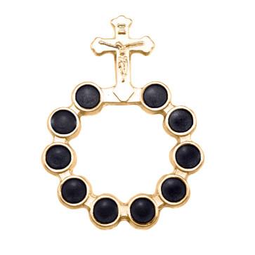 Catholic Gold Finish Decade Rosary w/ Black Beads