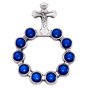 Catholic Silver Finish Decade Ring w/ Blue Beads