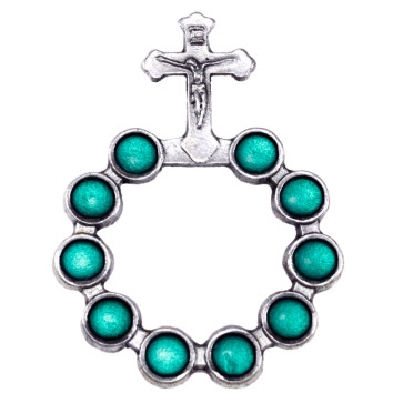 Catholic Silver Finish Decade Ring w/ Green Beads