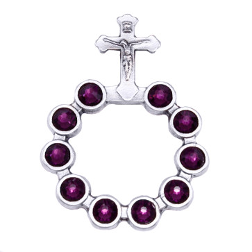 Catholic Silver Finish Decade Ring w/ Amethyst Swarovski Crystals