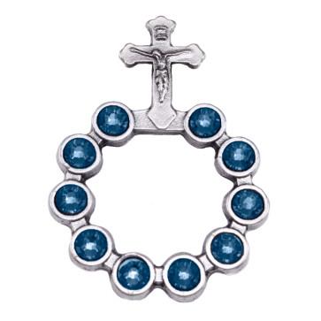 Catholic Silver Finish Decade Ring w/ Aqua Swarovski Crystals