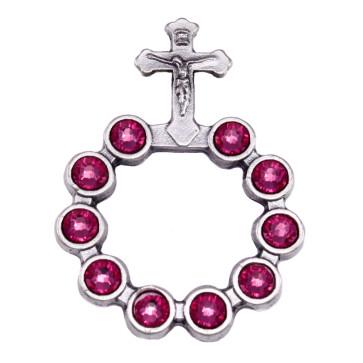 Catholic Silver Finish Decade Ring w/ Pink Swarovski Crystals