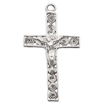 Crucifix Pendant Sterling Silver Filigree