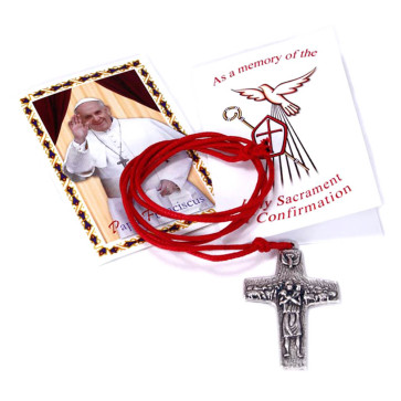Pope Francis Cross by Vedele w/ Red Cord with confirmation card