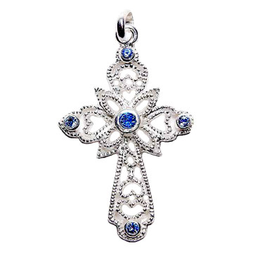 Sterling Silver Cross Catholic Pendant w/ Blue Crystals
