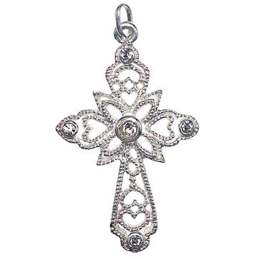 Sterling Silver Cross Pendant w/ Clear Crystals
