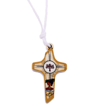 Catholic First Communion Cross Pendant on Rope