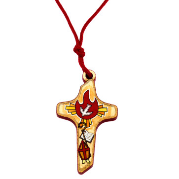 Catholic Confirmation Wooden Cross Pendant
