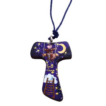 Catholic Sister Moon Tau Cross Necklace