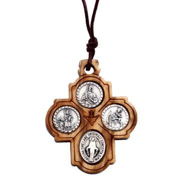 Catholic Olive Wood Four Way Cross Pendant