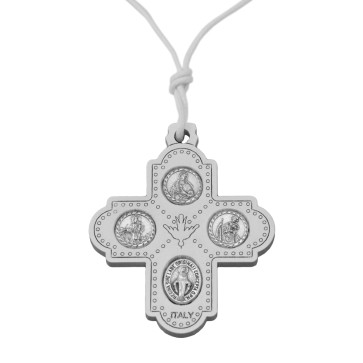 Catholic Olive Wood Four Way Cross Pendant in White