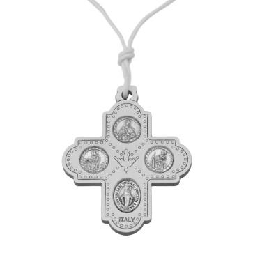 Catholic Olive Wood Four Way Cross Pendant in White