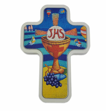 First Communion Wall Cross Colorful Artistic Imprint White Wood Base - 4 1/2 Inch