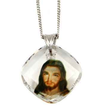 Divine Mercy Swarovski Crystal Catholic Pendant
